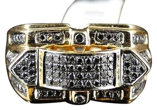 Other Mens,Yellow,Gold,Finish,Xl,Genuine,Round,Cut,Black,Diamond,Band,Pinky,Ring