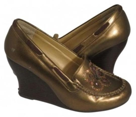Unknown Metallic Sequin Gold Wedges