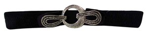 Chico's Stretchy Wide Three Textured Circle Clasp Leather Belt