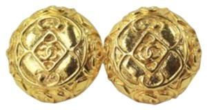 Chanel Gold Tone CC Button Earrings Clip On