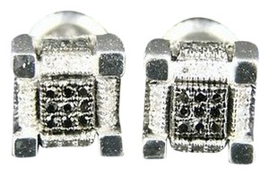 Icy,Ice,Cube,Block,All,Black,Diamond,Stud,Earrings,7,Mm