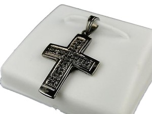 Mensladies,Mini,Black,Diamond,Cross,Pendant,Cham,.25ct