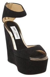 Jimmy Choo Suede Platform Black Wedges