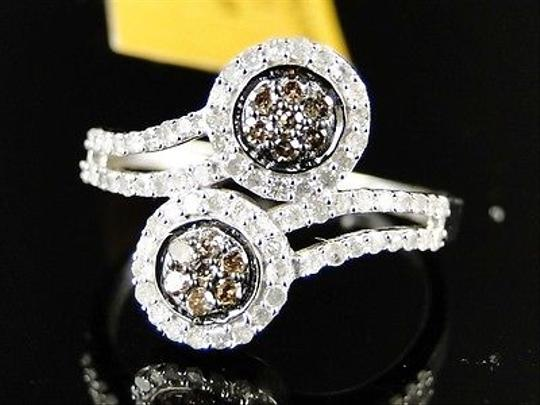 Other Ladies,Womens,White,Gold,Brown,White,Round,Cut,Flower,Diamond,Ring,.60,Ct