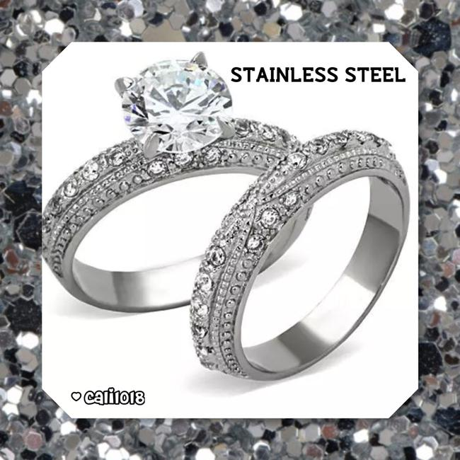 Item - Silver Stainless Steel New 2pc Cz Women's Wedding Band Set