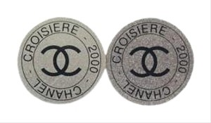 Chanel Croisiere 2000 Cruise Collection CC Silver Tone Button Earrings