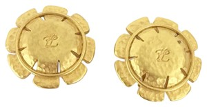 Karl Lagerfeld Karl Lagerfeld Large Gold Costume Vintage Clip On Flower Button Earrings