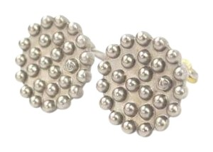 Chanel Silver Tone Button CC Earrings Clip On