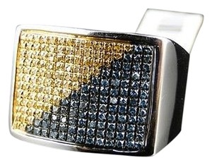 Mens,White,Gold,Finish,Bluecanary,Diamond,Pinky,Fashion,Band,Ring,.85,Ct