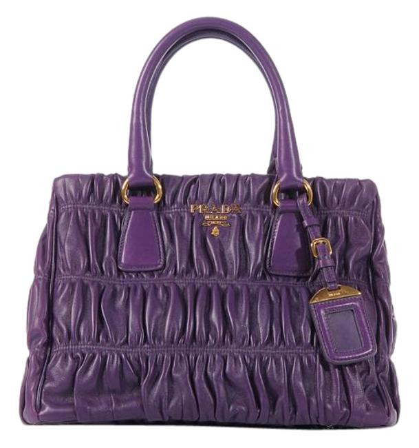 Item - Ruched Small Violet Purple Leather Tote