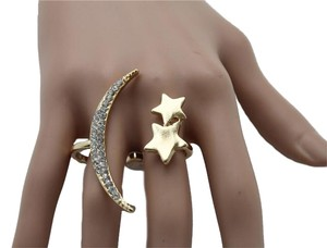 Women Ring Gold Crescent Metal 2 Fingers Cute Moon Stars One Size