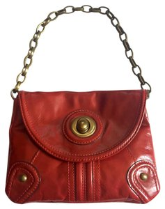 Tracy Reese Leather Chain Designer Brand New Red Clutch