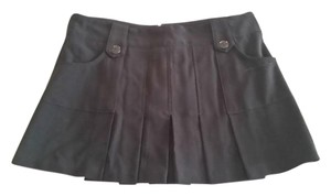 Papaya Pleated Mini Mini Skirt Black