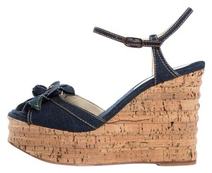 Chanel Denim & Cork Wedges