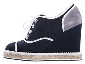 Chanel Navy & Gray Wedges