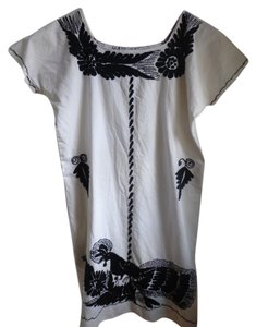 short dress Black/ White Vintage Mexican Embroidered on Tradesy