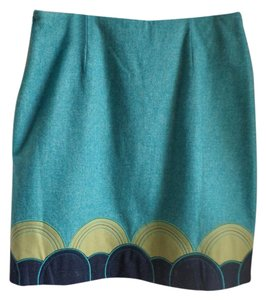 Boden Plaid Mini Wool Lined Skirt Turquoise/ Navy/ Greem