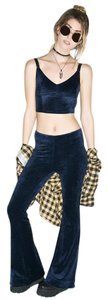 Somedays Lovin Velvet Zipper Grunge Flare Pants Blue