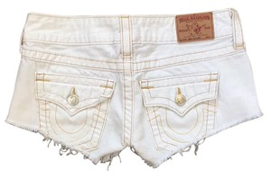 True Religion Cut Off Shorts White denim