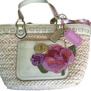 Coach Cream And Pinks Beach Bag
