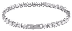 Other Tennis Design Link Bracelet Prong Set White Rhodium Finish Ladies Mm
