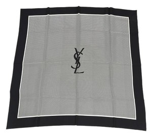 Saint Laurent Silk Black Striped Scarf