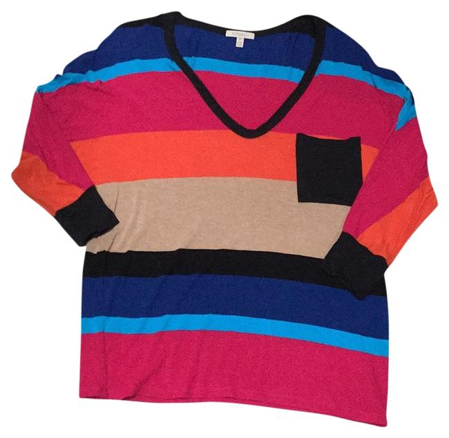 Preload https://img-static.tradesy.com/item/18833992/bordeaux-multicolor-striped-tee-shirt-size-4-s-0-1-650-650.jpg