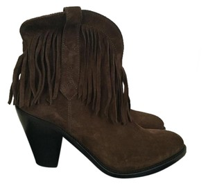 Saint Laurent Suede Fringe Brown Boots