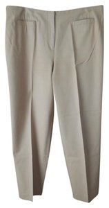 Talbots Size 16 Petite Cotton Blend Flat Front Style Welt Pockets Office To Casual Trouser Pants Tan