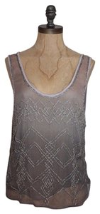 Topshop Ombre Sheer Top GRAY