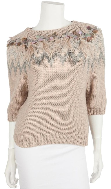 Item - Chunky Knit with Feather and Sequin Accents Blush Sweater