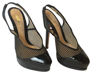 Fendi Patent Hidden Platform Black Pumps