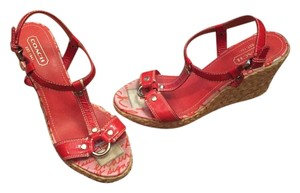 Coach Patent Leather Espadrille Red Wedges