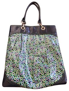 Vera Bradley Satchel in Blue with green, blue, purple and cream