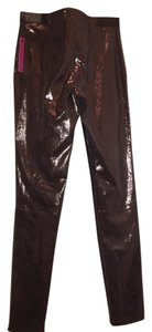 Alice + Olivia Leather Holiday Skinny Pants Bronze metallic
