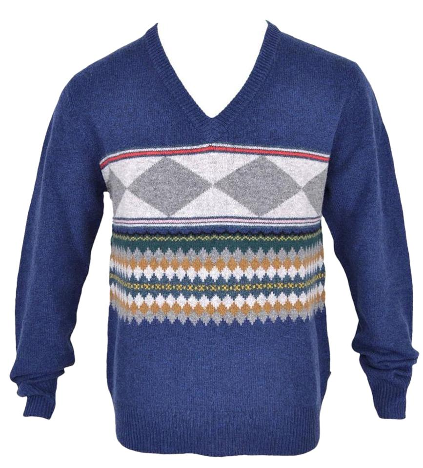 Burberry Brit Mens Lambs Wool Geometric V Neck Multi Color Sweater