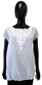 Ann Taylor LOFT Floral Embroidered 1/2 Button Top Blue