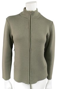 Prada Olive Mock Neck Zip Up Cardigan