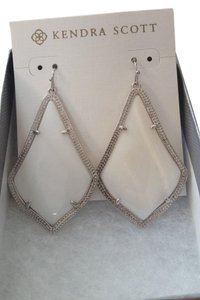 Kendra Scott Alexandra Drop Earrings in White Mother of Pearl and Rhodium