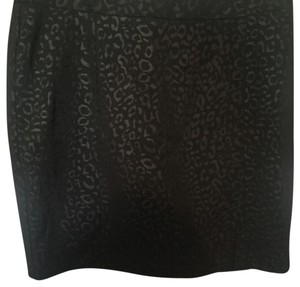 Cynthia Rowley Mini Skirt Black with leopard print