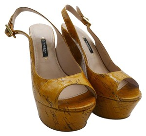 Baldan Patent Cork Tan Wedges