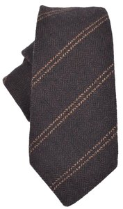 Gucci Gucci Men's 358884 Brown Woven Wool Striped Neck Tie
