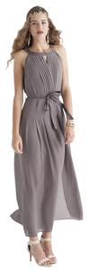 Maxi Dress by Double Zero Slate Halter Pleated Chiffon