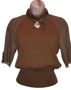 Rebecca Moses Cashmere Embellished Herringbone Sweater