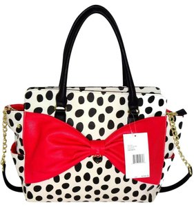 Betsey Johnson Black/bone Satchel in bone/black polka dot