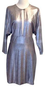 bebe Metallic Polyester Dryclean Only Dolman Sleeves Silver Dress