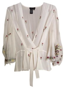 BCBGMAXAZRIA Top Cream with Red, Yellow and Green Stitching