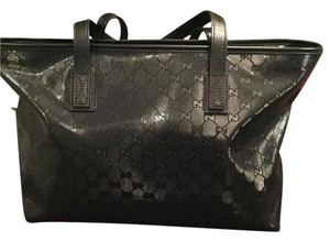 Gucci Leather Monogram Tote in Black