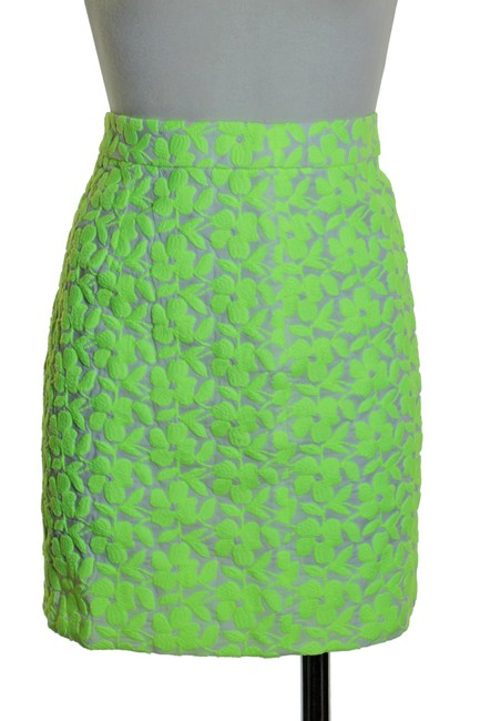 J.Crew Woven Embroidered Lined Mini Skirt Green Image 1