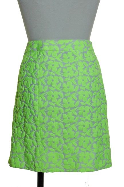 J.Crew Woven Embroidered Lined Mini Skirt Green Image 2